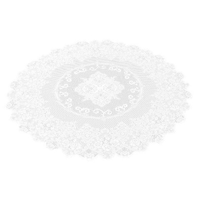 59-Inch Round Decorative Lace Tablecloth with Elegant Floral Patterns for Birthday Parties, Weddings, Dining Room Tables, White