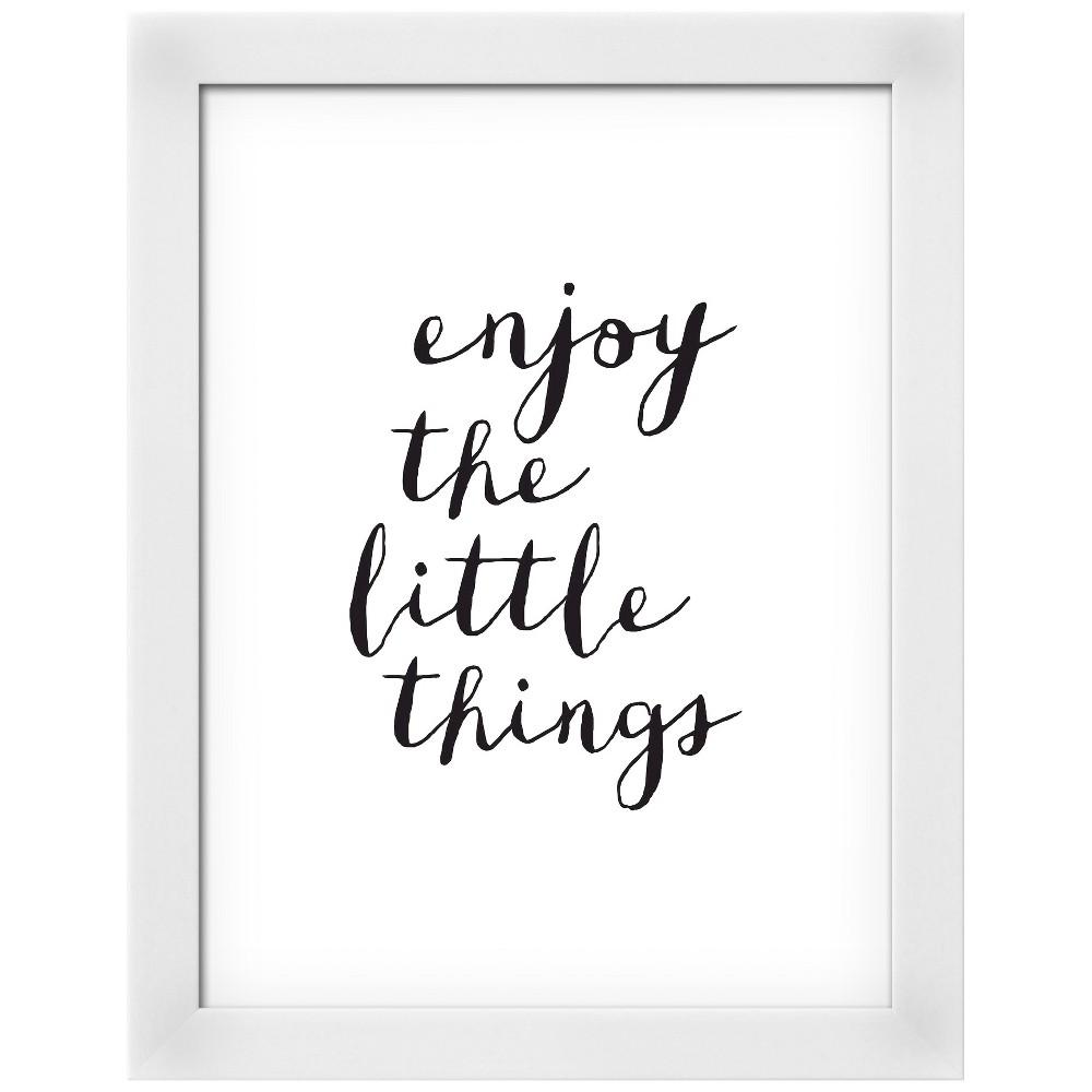 Enjoy The Little Things Copy White Wood Framed Art Print, Gray