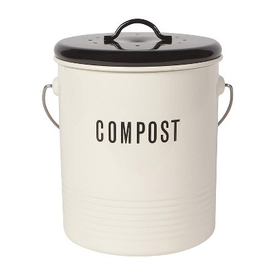 Now Designs 1.25 Gallon Capacity Kitchen Countertop Waste Bucket Pail Vintage Compost Bin Container with Lid and Stainless Steel Handles, Ivory