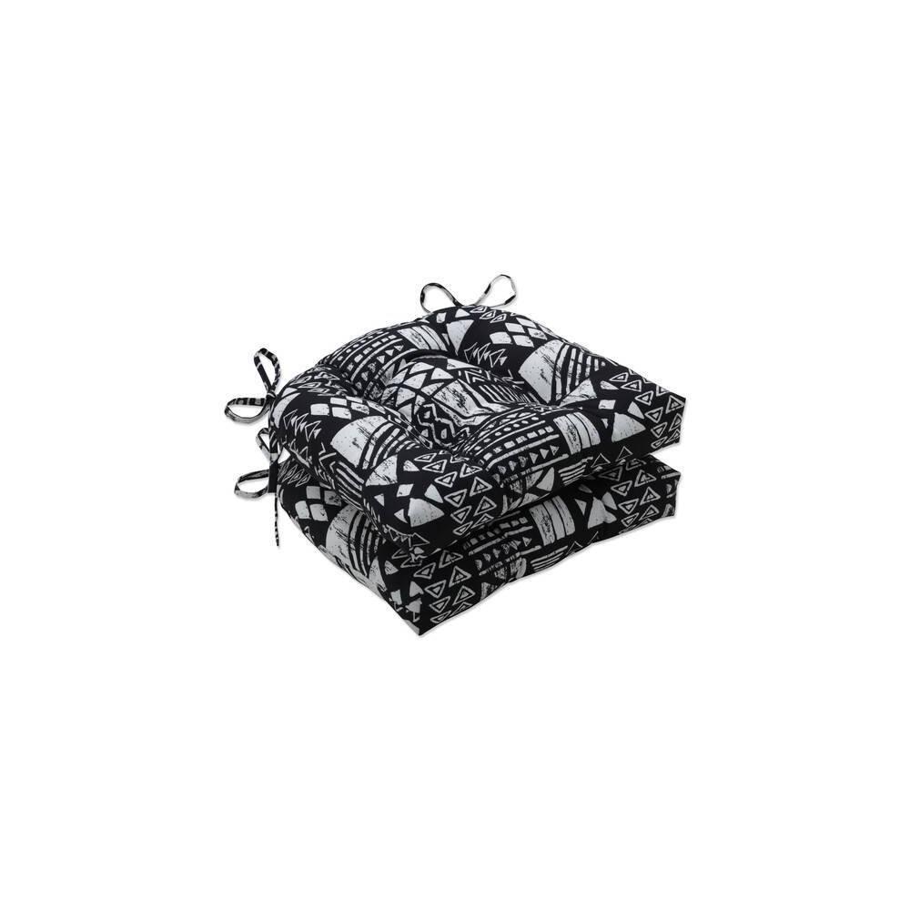 2pk Outdoor Indoor Reversible Chair Pad Set Geo Block Black Pillow Perfect