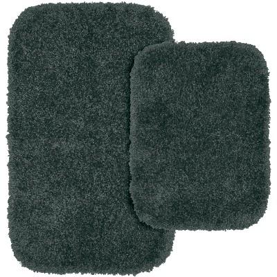 2pc Serendipity Shaggy Washable Nylon Bath Rug Set Dark Gray - Garland