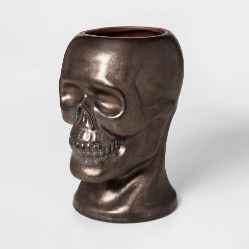 """14"""" x 10"""" Terracotta Skull Shaped Vase Gold - Threshold™ - image 1 of 1"""