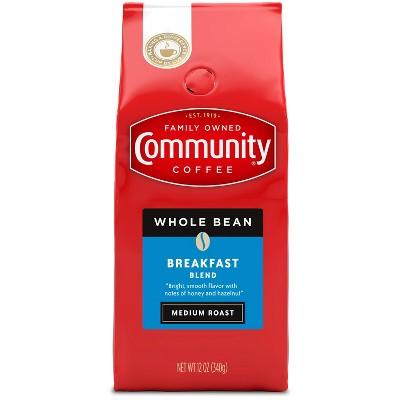 Community Coffee Breakfast Blend Medium Roast Whole Bean Coffee - 12oz