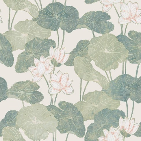 RoomMates Lily Pads Peel & Stick Wallpaper Cream/Green - image 1 of 4