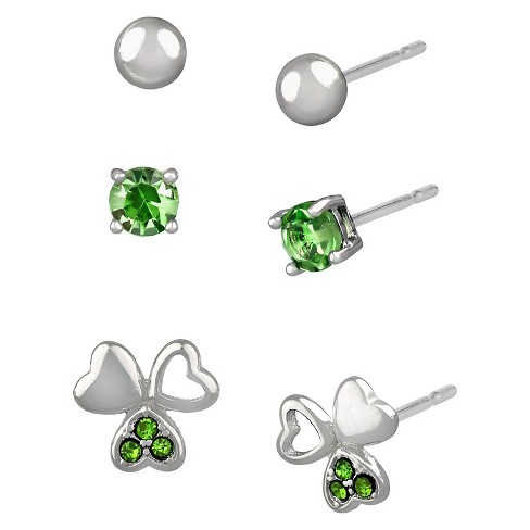 Women's Studs Earrings Sterling Silver Three Pairs Ball Stud & Shamrock with Crystals-Silver/Green - image 1 of 1