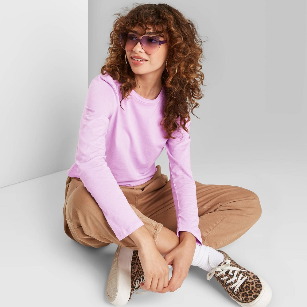 Women 39 S Long Sleeve T Shirt Wild Fable 8482 Lilac Xl