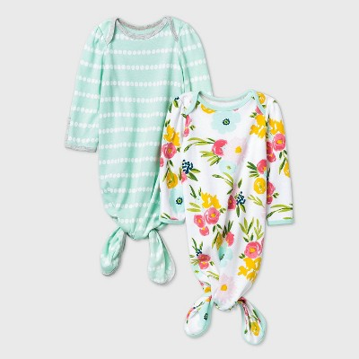 Baby Girls' Floral Fields Nightgown - Cloud Island™ Mint Newborn