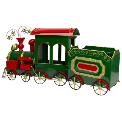 "Northlight 34"" Green, Red and Gold Metal Train Figurine Tabletop Christmas Decoration"