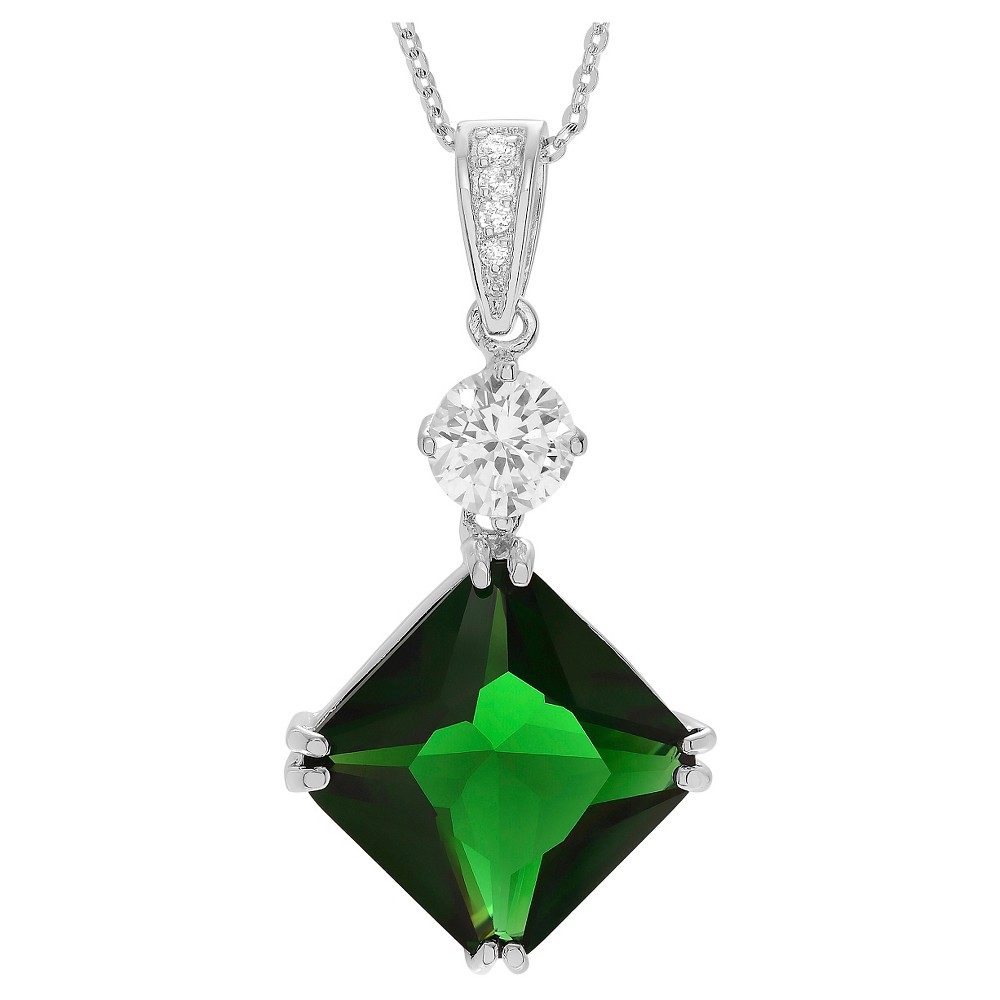 57 2/5 CT. T.W. Square-cut CZ Basket Set Pendant Necklace in Sterling Silver - Green, Girl's