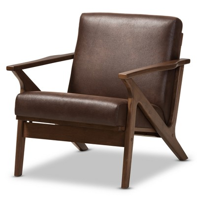 Bianca Mid Century Modern Walnut Wood Distressed Faux Leather Lounge Chair Dark Brown - Baxton Studio