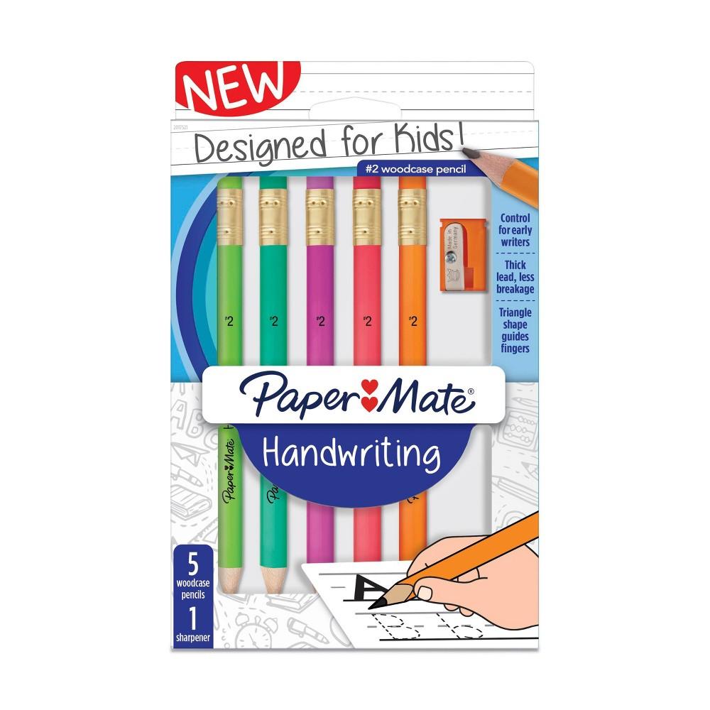 5ct #2 Pencils & Sharpener - Paper Mate, Grey
