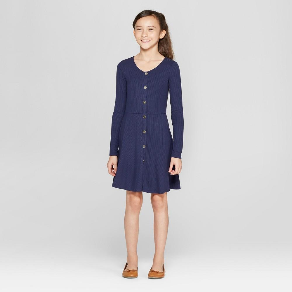 Girls' Front Button Long Sleeve Dress - art class Navy XL, Blue