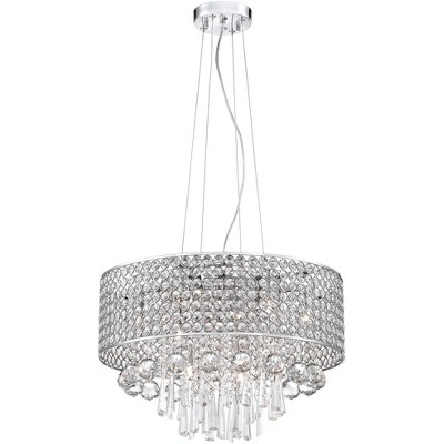 """Vienna Full Spectrum Chrome Drum Pendant Chandelier 19"""" Wide Beaded Crystal Drum Shade 9-Light Fixture Dining Room House Kitchen"""