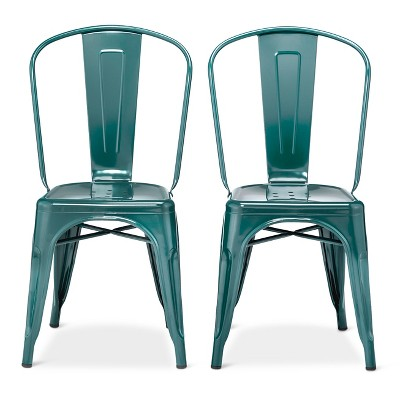 Set of 2 Carlisle High Back Metal Dining Chair Teal - Threshold™