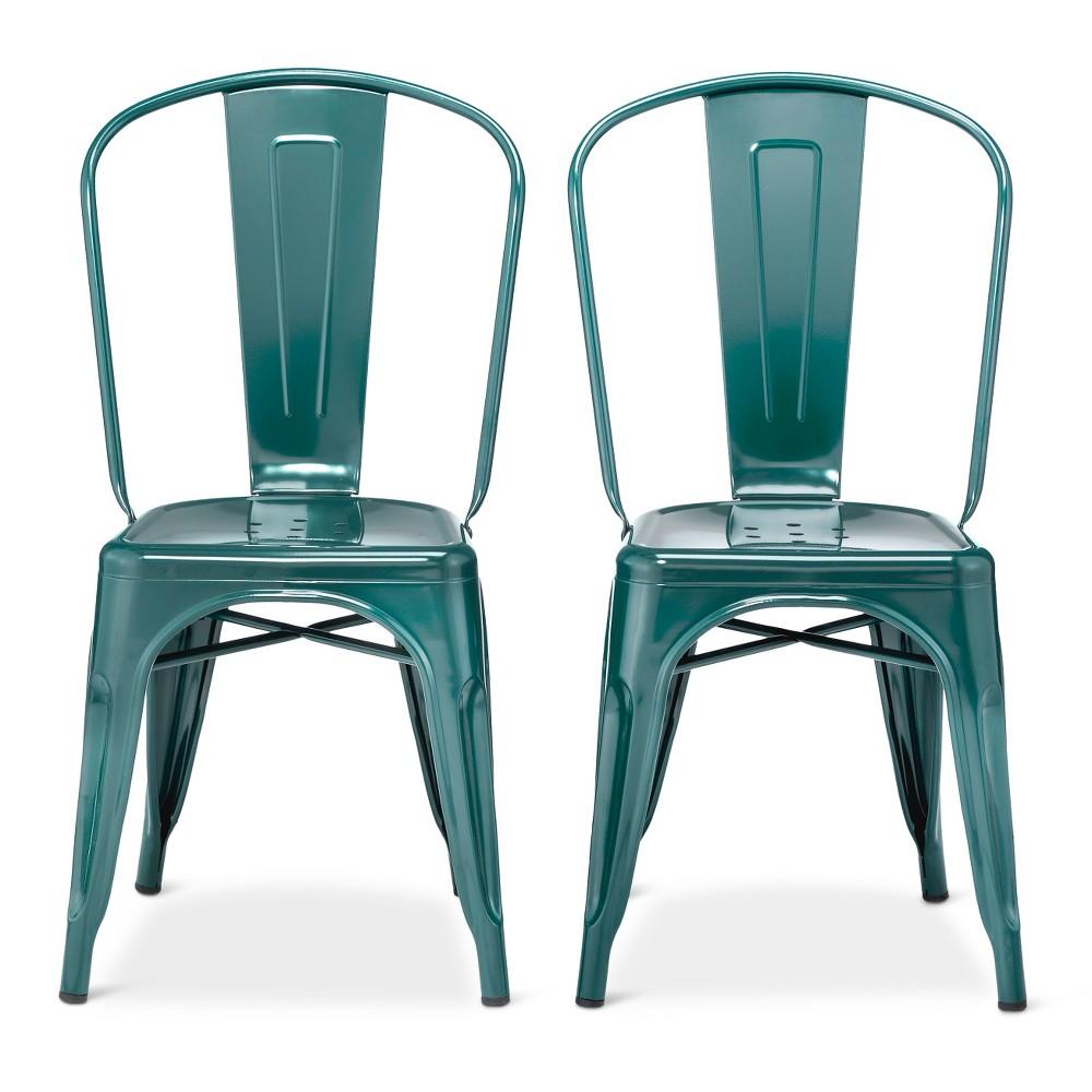 Image of Set of 2 Carlisle High Back Metal Dining Chair Teal - Ace Bayou