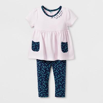 Baby Girls' 2pc Pocket Tunic and Leggings Set - Cat & Jack™ Pink 0-3M