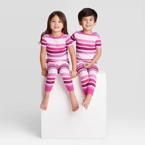 Toddler Striped Pajama Set - Pink  - image 1 of 3