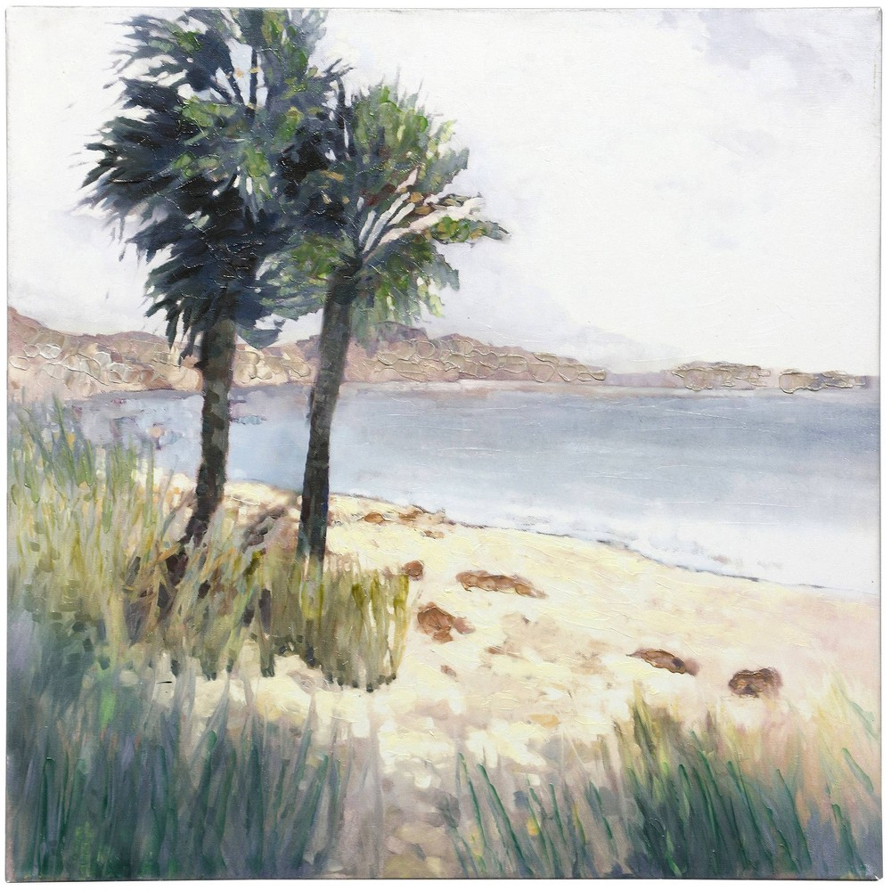 Bay Palms Hand Embellished Palm Trees With Ocean View On Stretched Canvas Stylecraft