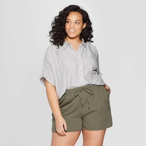 Women's Plus Size Striped Short Sleeve Camp Shirt - Universal Thread™ Black - image 1 of 3