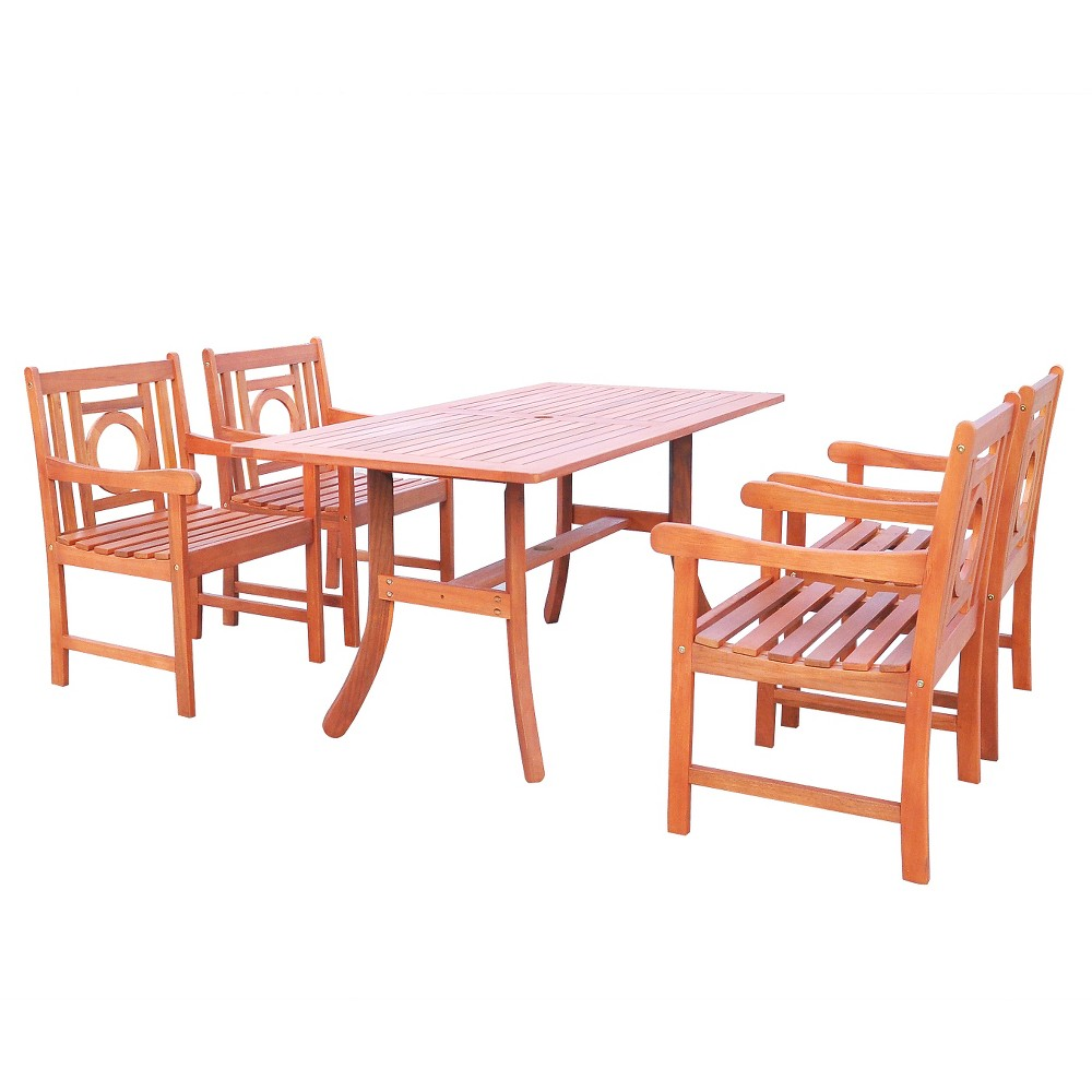 Vifah Malibu Eco-friendly 5 Piece Outdoor Hardwood Dining Set with Rectangle Table and Arm Chairs, Urban Safari Tan