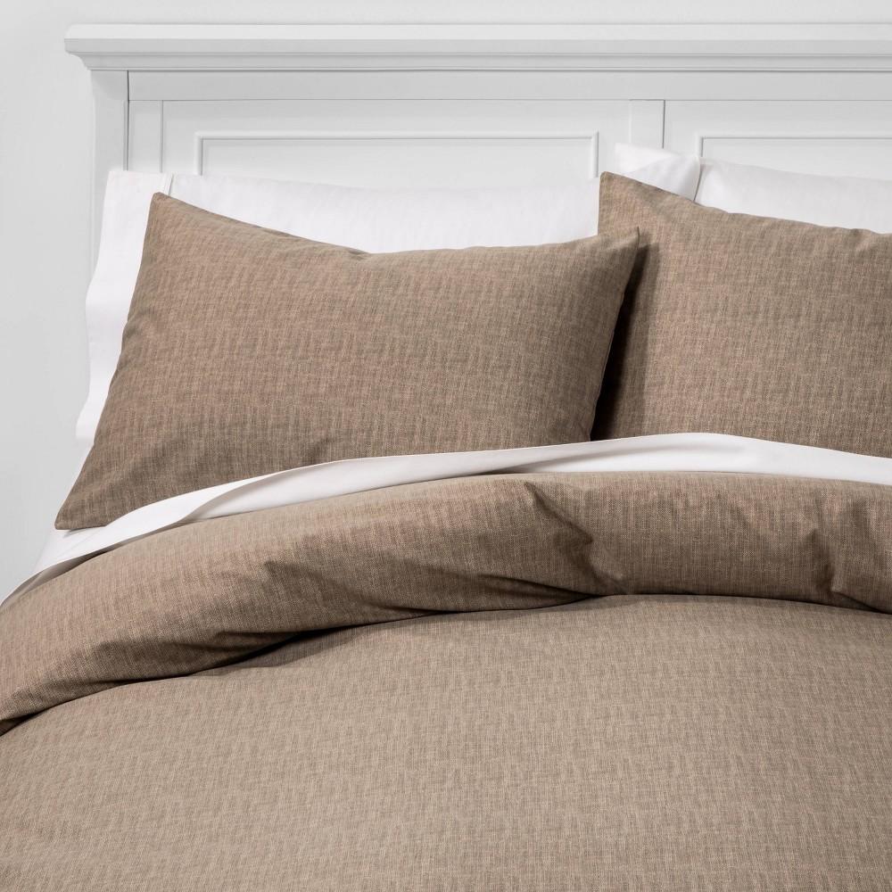 Full/Queen Family Friendly Solid Duvet & Pillow Sham Set Taupe (Brown) - Threshold