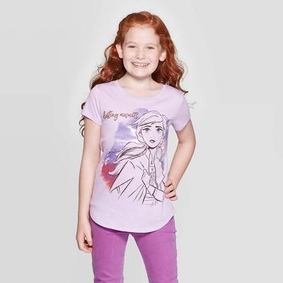 Girls' Disney Frozen Ana Destiny Awaits Short Sleeve T-Shirt - Purple