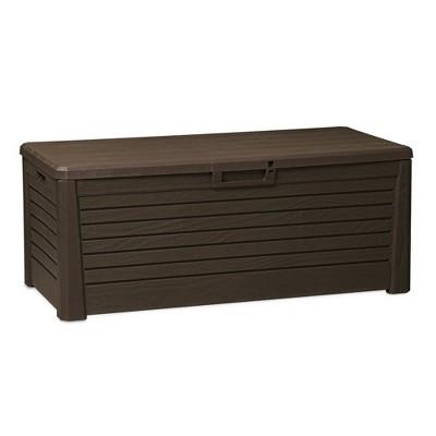 Toomax Florida UV Resistant Lockable Deck Storage Box Bench for Outdoor Pool Patio Garden Furniture or Indoor Toy Bin Container, 145 Gallon (Brown)