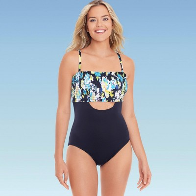 Women's Slimming Control Smocked Cut Out One Piece Swimsuit - Beach Betty by Miracle Brands Black Floral