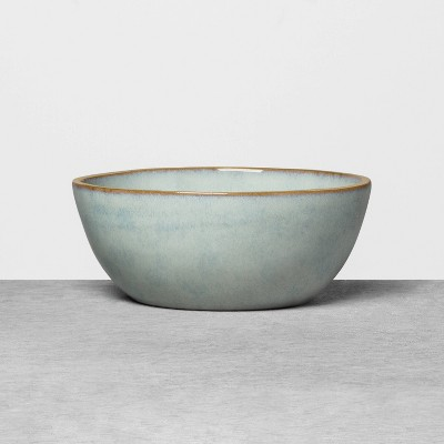 Stoneware Reactive Exposed Rim Cereal Bowl Blue - Hearth & Hand™ with Magnolia