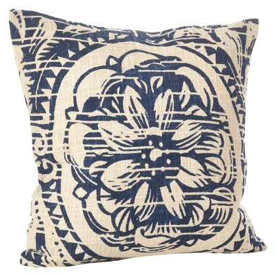 Navy Blue Montpellier Floral Design Throw Pillow (20 )- Saro Lifestyle®