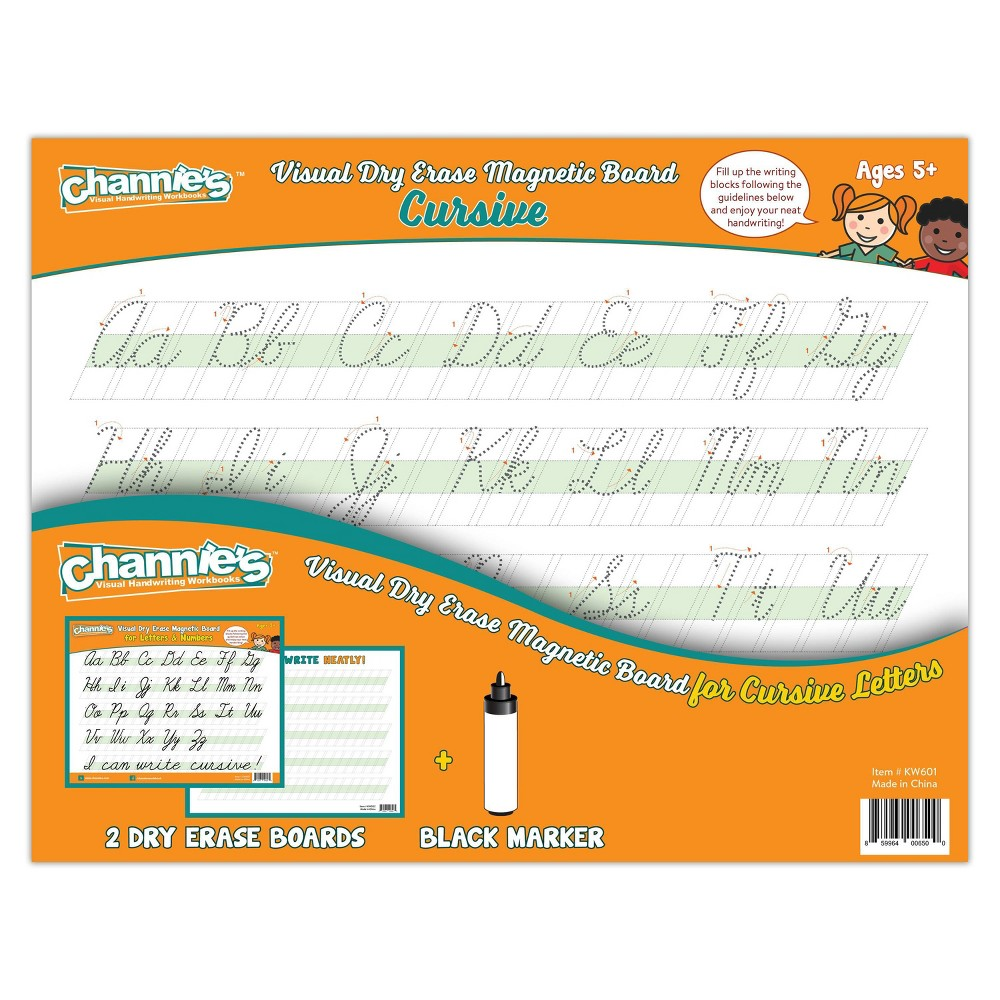Image of Channie's 2pk Visual Dry Erase Magnetic Cursive Boards