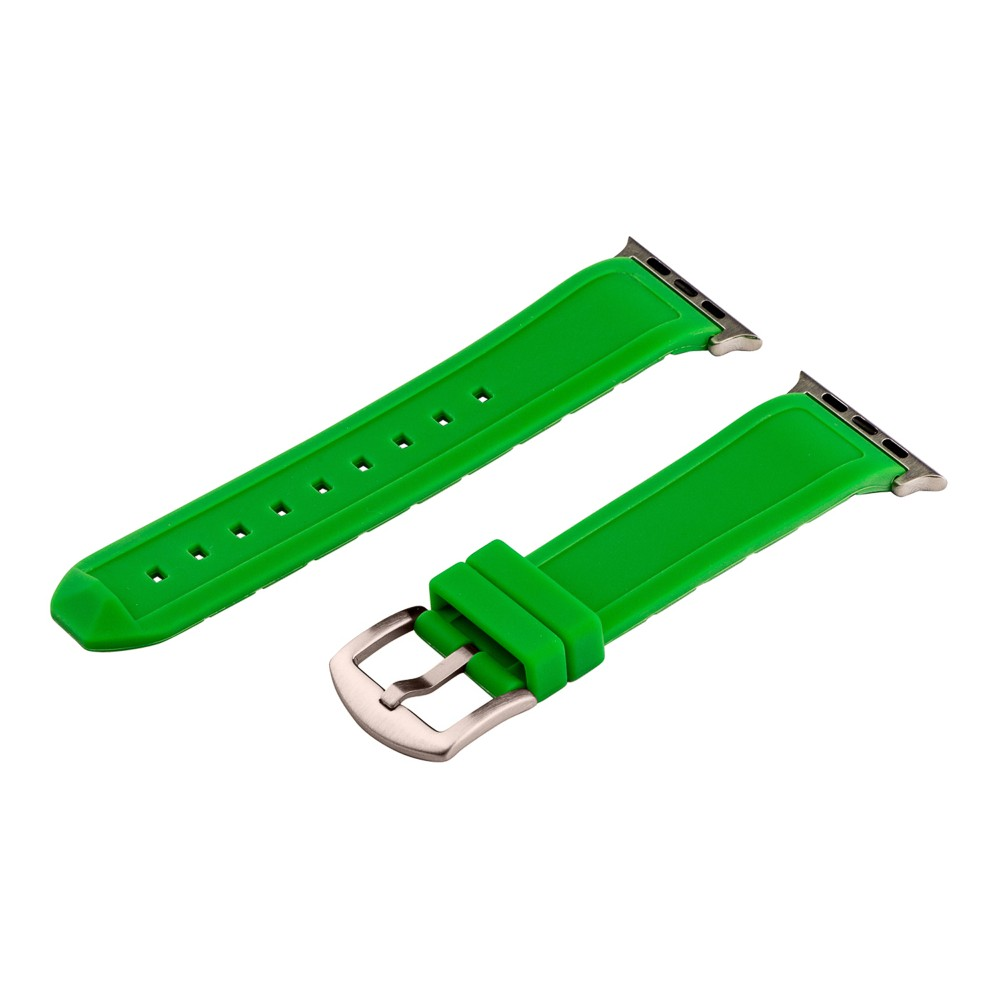 Clockwork Synergy Divers Silicone Apple Watch Band 42mm with Steel Adapter - Green Customize the look of your timepiece with the Divers Silicone Apple Watch Band from Clockwork Synergy. Crafted from high-quality silicone, this green watchband ensures soft, comfortable wear and long-lasting durability. With nine adjustability holes, you'll get the perfect custom fit so your watch stays in place all day. Whether you bring a fun pop of color to your look with the green watchband, or you switch it out to complement a specific outfit, you'll love sporting a unique accessory that complements your style. Gender: unisex.