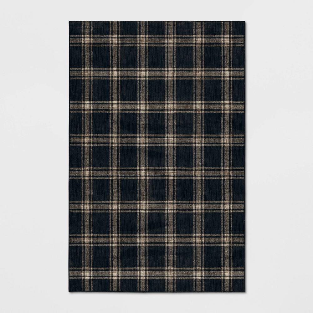 Image of 7'X10' Blueberry Hill Woven Pet Plaid Rug Black/Cream - Threshold