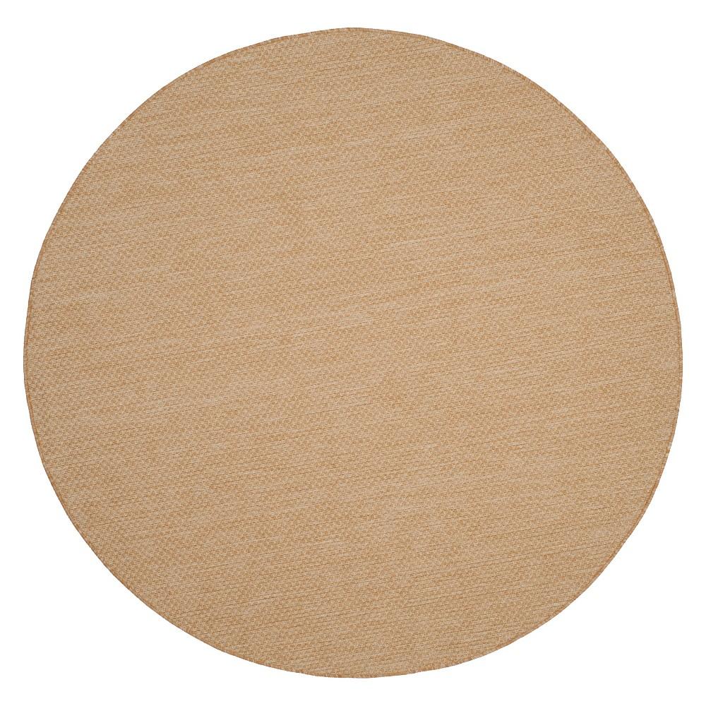 6'7 Round Cherwell Outdoor Rug Natural/Cream - Safavieh, Brown