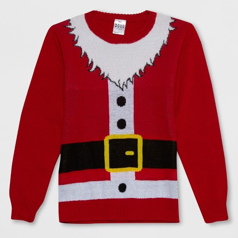 b6313598373 Well Worn Boys  Santa Claus Ugly Christmas Sweater - Red XL   Target