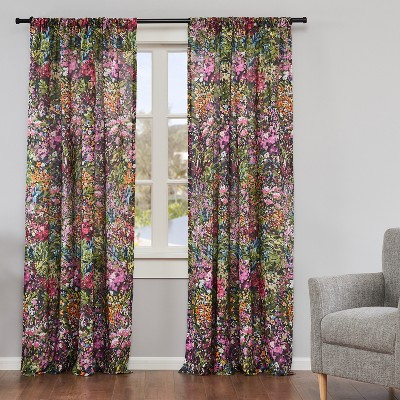 Basel Floral Lined Curtain Panel with Rod Pocket - 2pk - Levtex Home