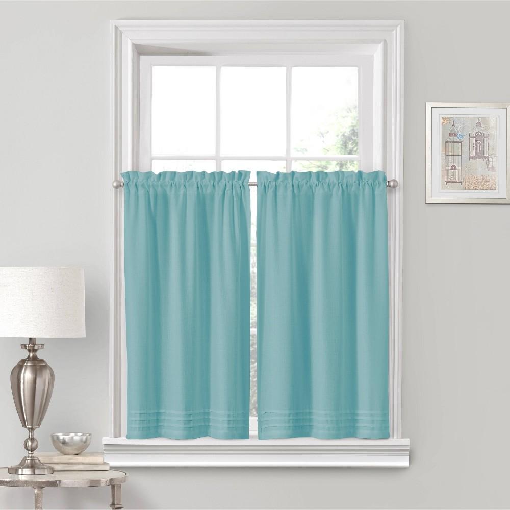 "Image of ""24""""x52"""" Kingsbury Rod Pocket Curtain Tier Set Blue - Vue, Aegean"""