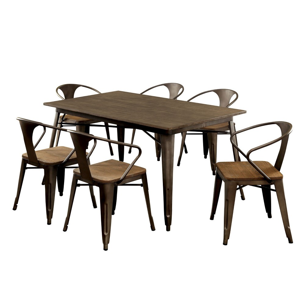 7pc Smithson Metal Frame Dining Table Set Natural Elm - Sun & Pine