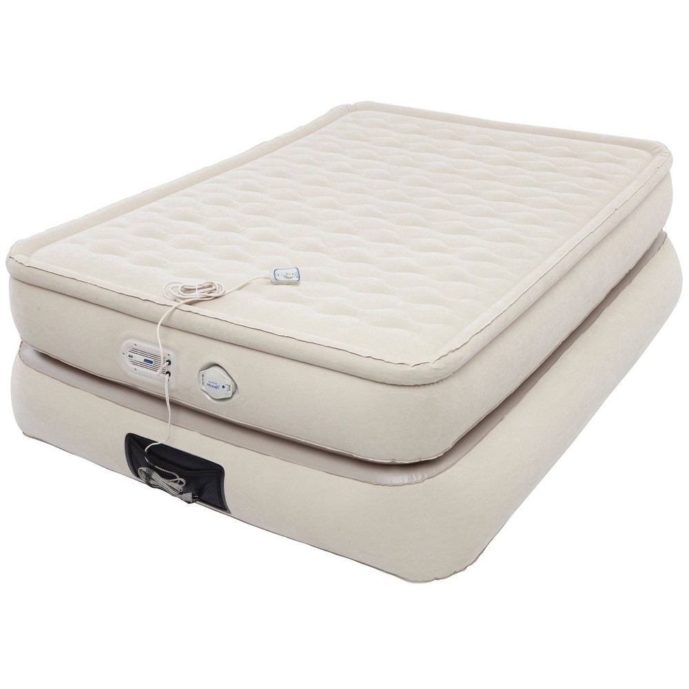 Image of Aerobed Pillowtop Double-High Air Mattress with Built-In Pump & USB Port Full - Khaki, Beige