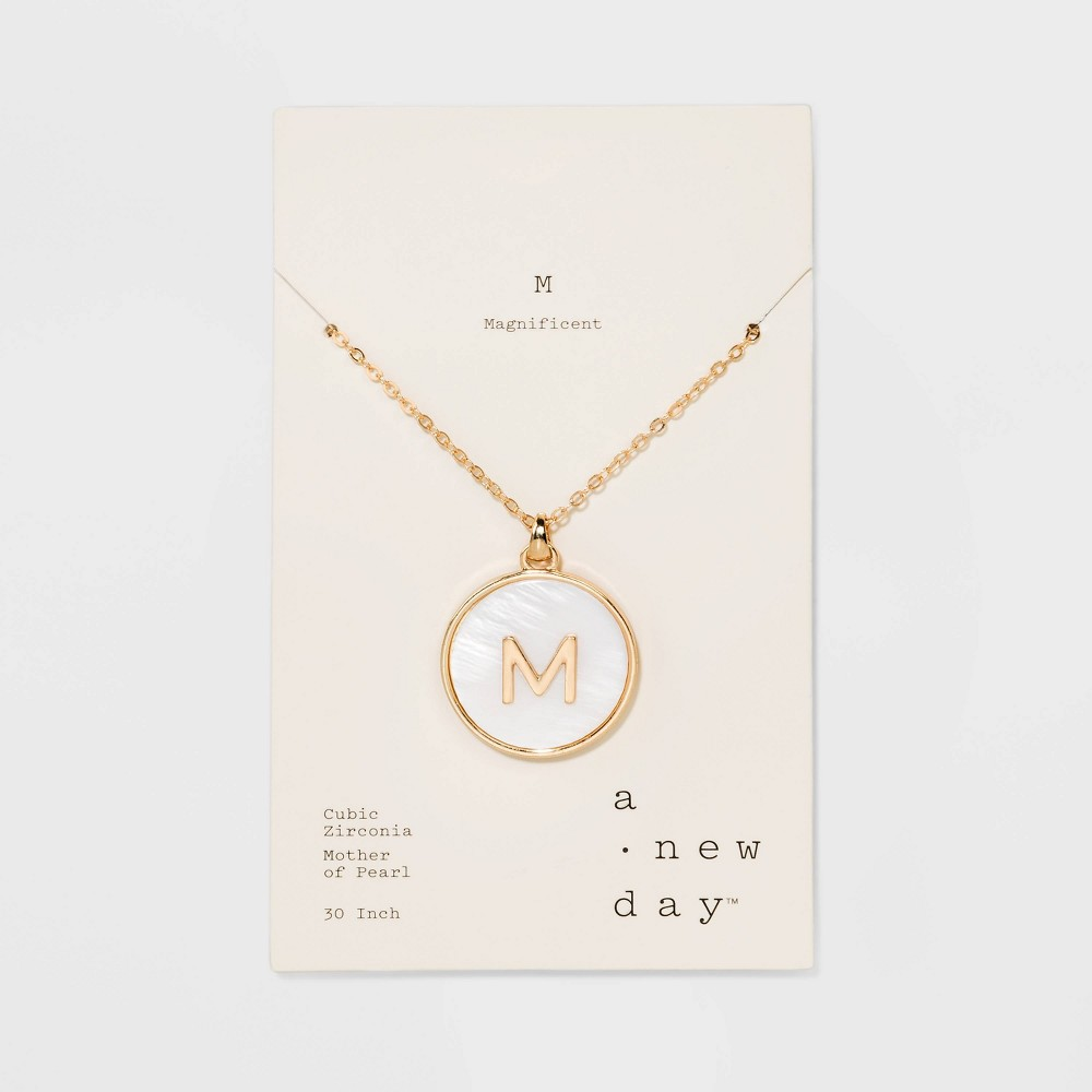 Mop Initial M Necklace 30+3 - A New Day Gold, Size: Medium, Gold - M