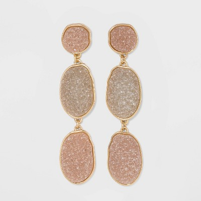 SUGARFIX by BaubleBar Tri-Tone Druzy Drop Earrings - Champagne/Light Gray