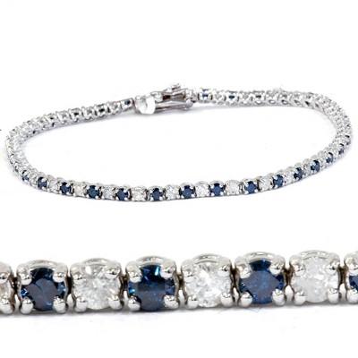 Pompeii3 1 1/2ct Blue and White Diamond Tennis Bracelet 14K White Gold