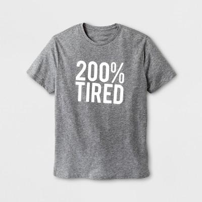 Men's Short Sleeve 200% Tired Graphic T-Shirt - Gray L