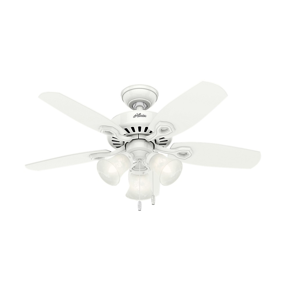 "Image of ""42"""" Builder Small Room Snow LED Lighted Ceiling Fan White - Hunter Fan"""