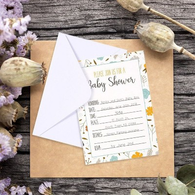 50-Pack Baby Shower Invitations - Adorable Floral Design Invite Cards for your Celebration - Includes 50 White Envelopes - 5 x 7 inches