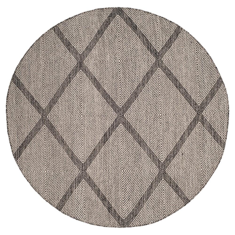 Black Abstract Flatweave Woven Round Area Rug - (6') - Safavieh