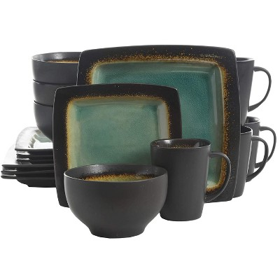 Gibson Elite Ocean Paradise 16 Piece Soft Square Glazed Dinnerware Kitchen Dish Set with Multi Sized Plates, Bowls, and Mugs, Jade
