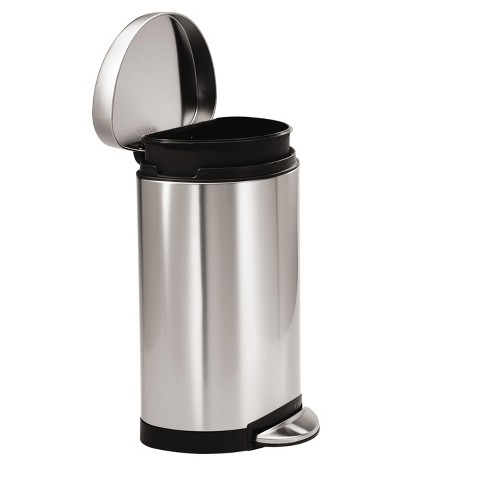 . simplehuman 10 Liter Semi Round Step On Trash Can   Brushed Stainless Steel