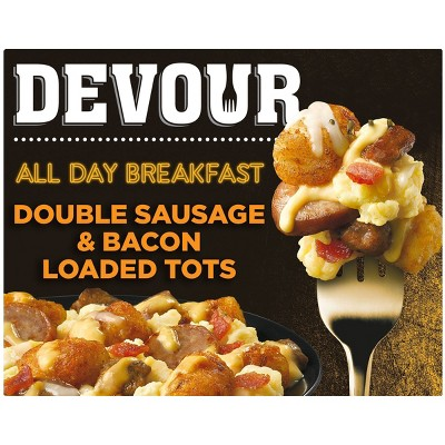 Devour Frozen All Day Breakfast Double Sausage and Bacon Loaded Tots - 9oz