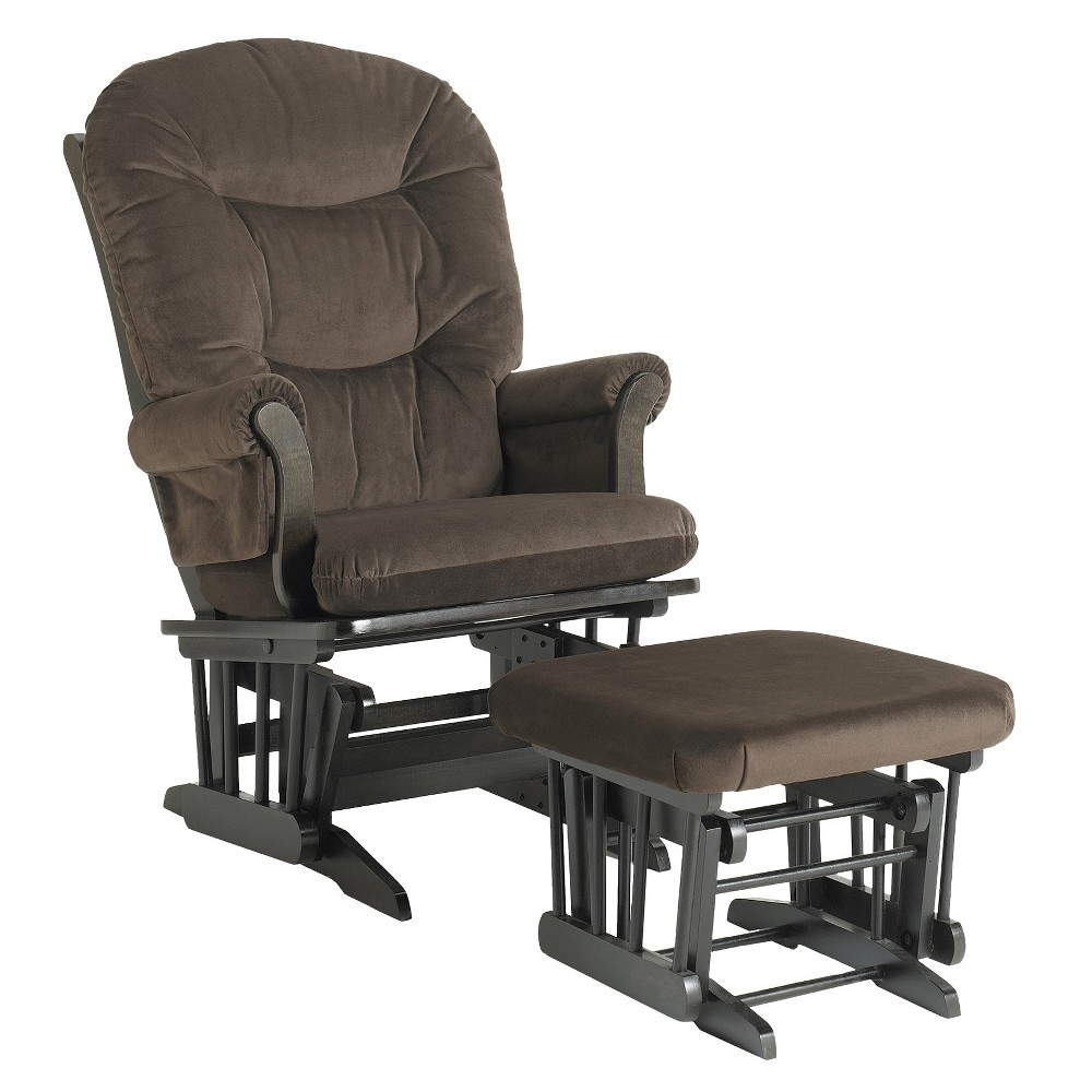 Dutailier Sleigh Glider and Ottoman Combo - Espresso/Chocolate, Brown